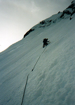 Mark Hicks leading steep ice on the NE Buttress of Chair Peak
