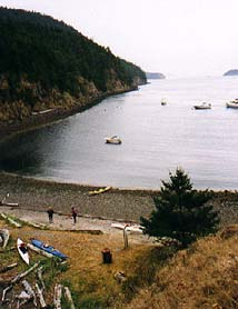 Bay on the north shore of the tombolo