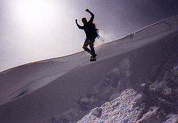 Pilar leaping off a cornice on Mt. Persis