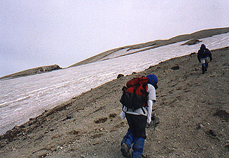 Approaching the crater rim