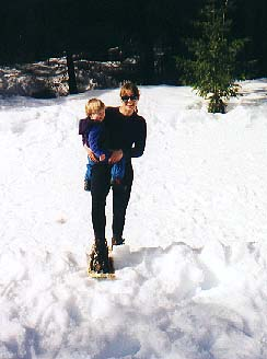 Maren and Bryden snowshoeing