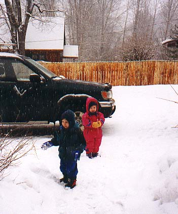 Bryden and Lizzie playing in the snow
