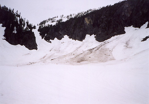 Avalanche debris leading to first gully